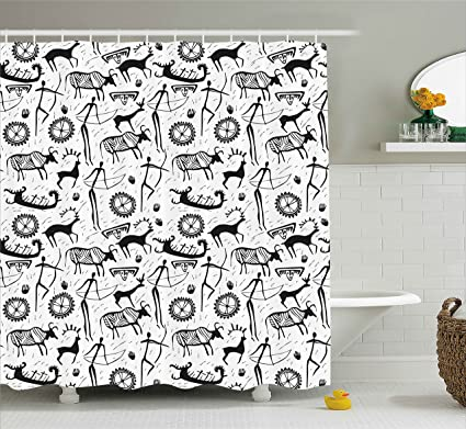 Ambesonne Tribal Shower Curtain African Culture Pattern With Traditional Mask Animal And Arrows Folk Design