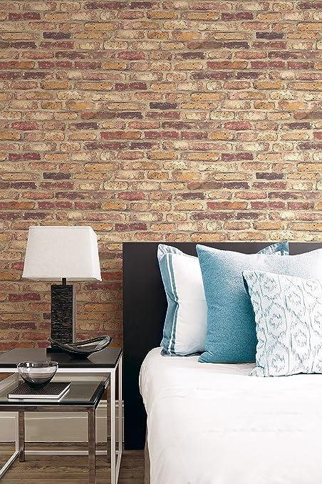 Faux Rustic Brick Wallpaper Red