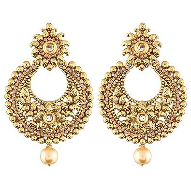 Buy I Jewels Ethnic Gold Plated Chandbali Earrings For Women