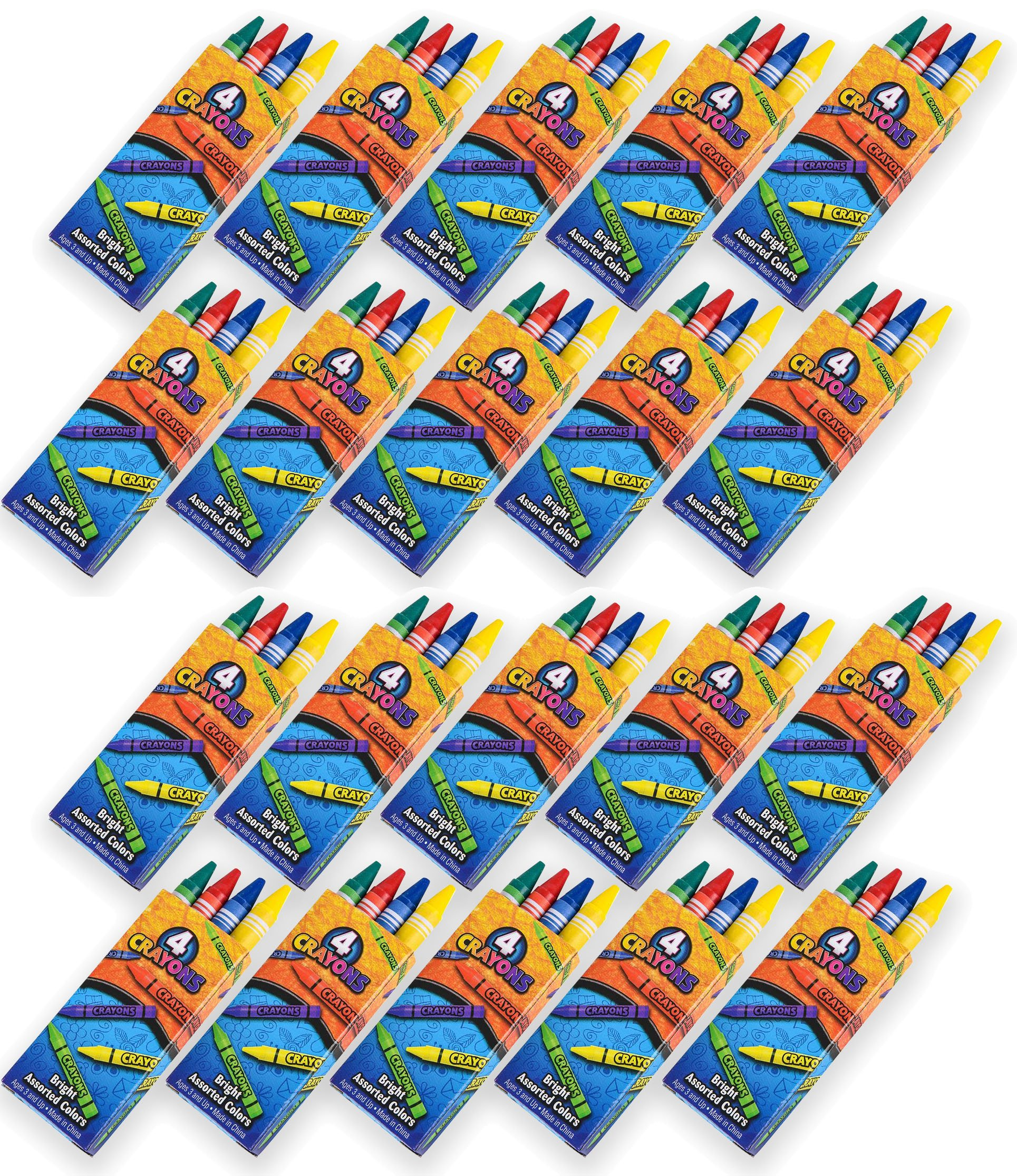 4E's Novelty 576 Crayons, 144 Packs of 4 Crayons for Kids Bulk -Non-Toxic- 4 Colors in Each Crayon Box, Premium Crayons, Great Party Favor, Arts and Crafts Supplies for Toddlers, Goodie Bag Filler