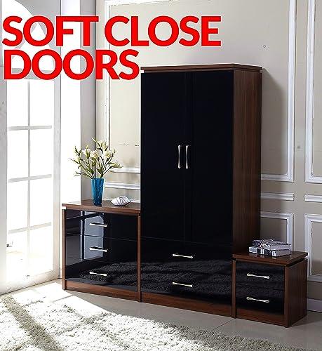 Fairpak Delvito PREMIUM High Gloss 3 Piece Bedroom Furniture Set - 2 Drawer Wardrobe, 3 Drawer Chest, Bedside Cabinet (Black/Walnut)