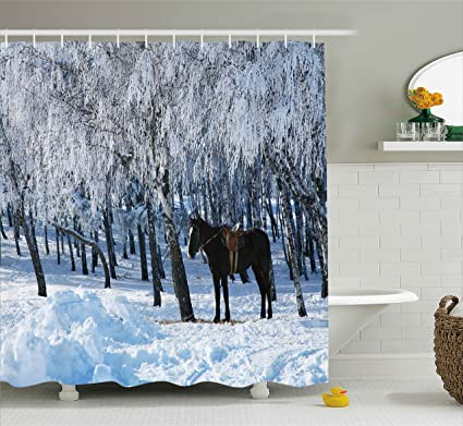 Ambesonne Equestrian Shower Curtain Horse Between Trees In The Winter Forest Frozen Woods Icy Land