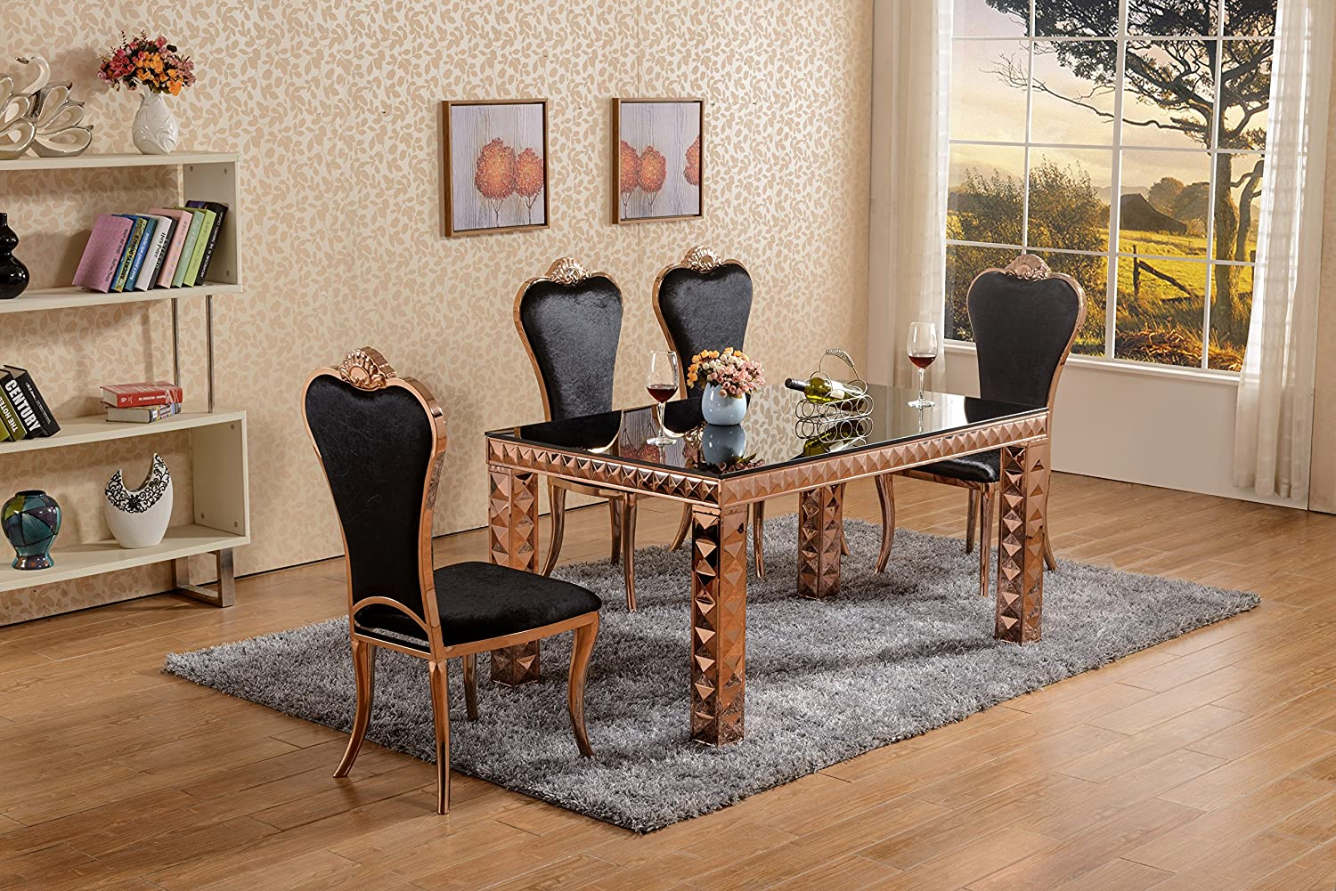 Rose Gold Metal Dining Set, Black Glass Top Dining Table Leather ...