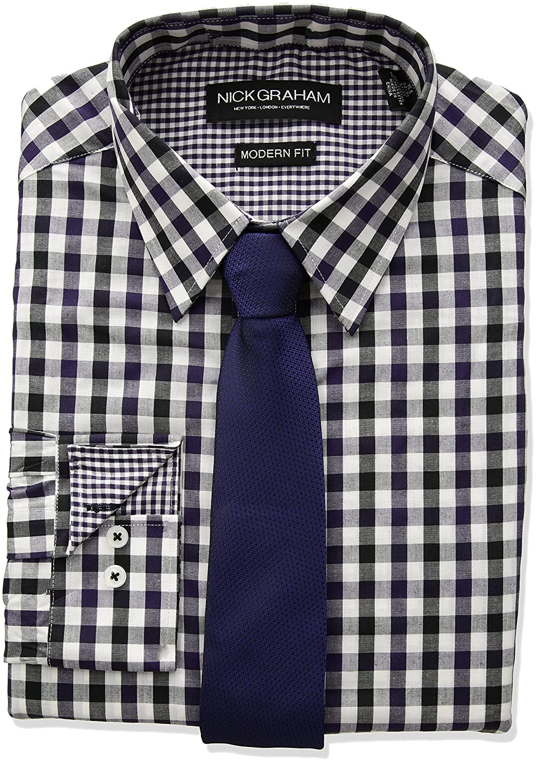 49cb6dab Nick Graham Men's Long Multi Gingham Dress Shirt with Solid Tie Set at  Amazon Men's Clothing store:
