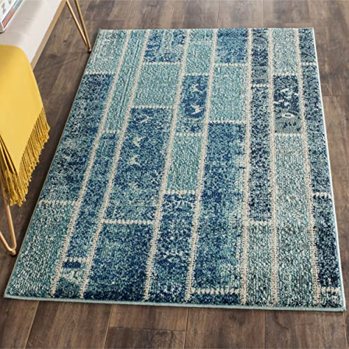 Safavieh Monaco Collection MNC216J Modern Geometric Patchwork Blue and Multi Distressed Area Rug 3 x 5