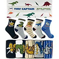 Tiny Captain Boy Dinosaur Socks 4-7 Year Old Boys Crew Cotton Sock Perfect Age 5 Gift Set