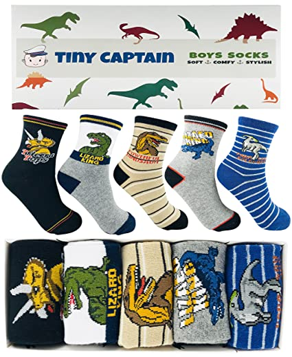 Tiny captain boys dinosaur socks