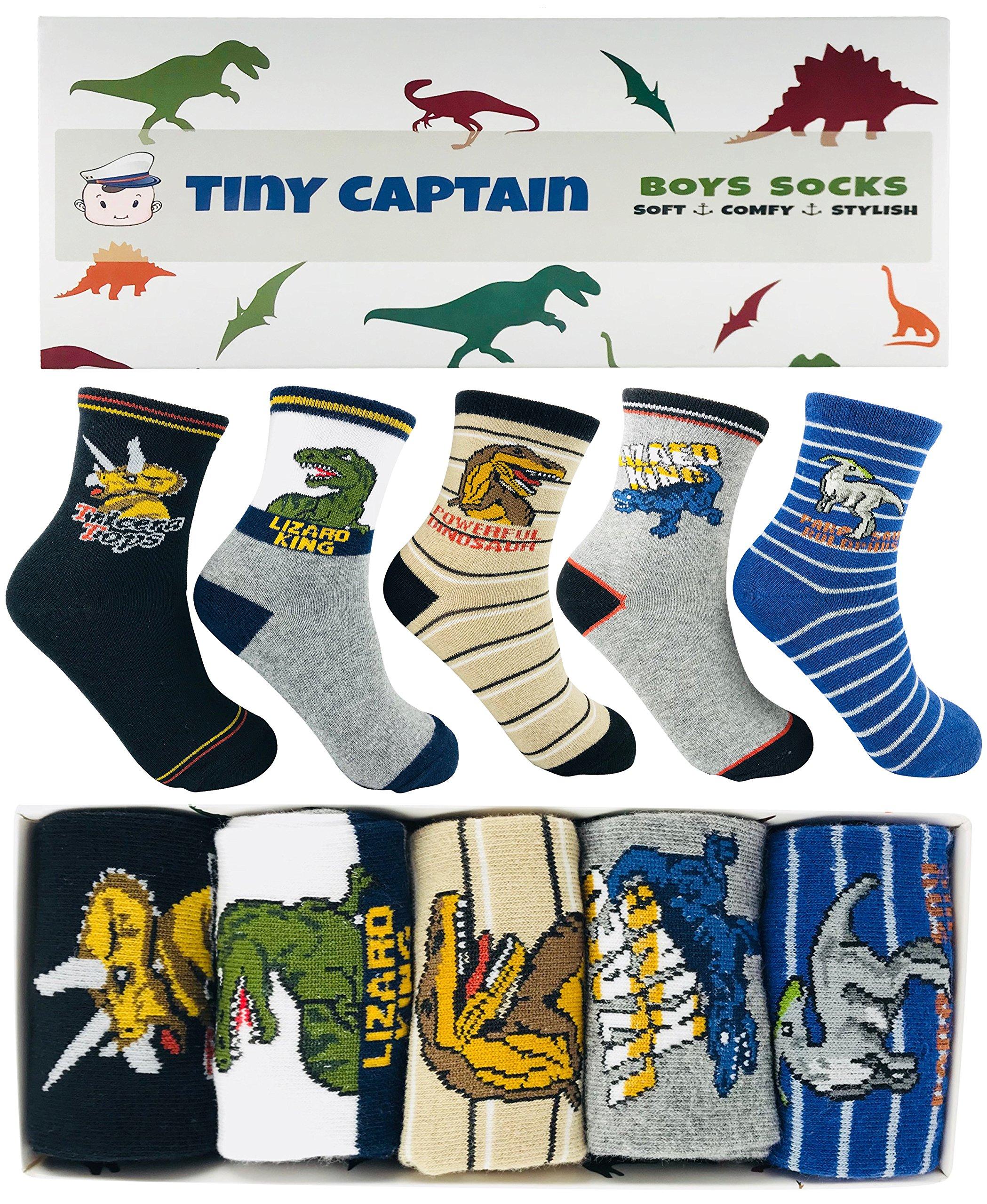 Tiny Captain Boy Dinosaur Socks 4-7 Year Old Boys Crew Cotton Sock Perfect Age 5 Gift Set (Medium, Green)