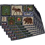 Park B Smith Lodge Cabin Theme Fabric 19 x 12.75 Inch Placemat, Set of 6