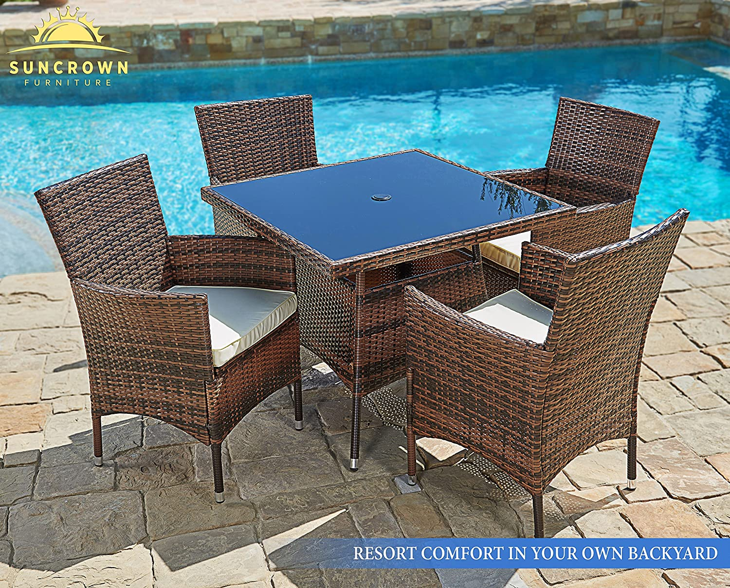 outdoor chairs and tables. Amazon.com: Suncrown Outdoor Furniture All-Weather Square Wicker Dining Table And Chairs (5-Piece Set) Washable Cushions | Patio, Backyard, Porch, Garden, Tables N