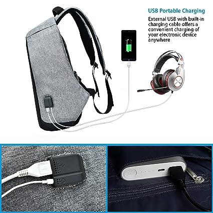 625814bbb5 PC Tablette Ordinateur Voyage Sac à Dos avec USB Chargement Headphone Port  Antivol Dos pour Homme Femme de Business Collège Fits 14 Pouces  Laptop(Noir): ...