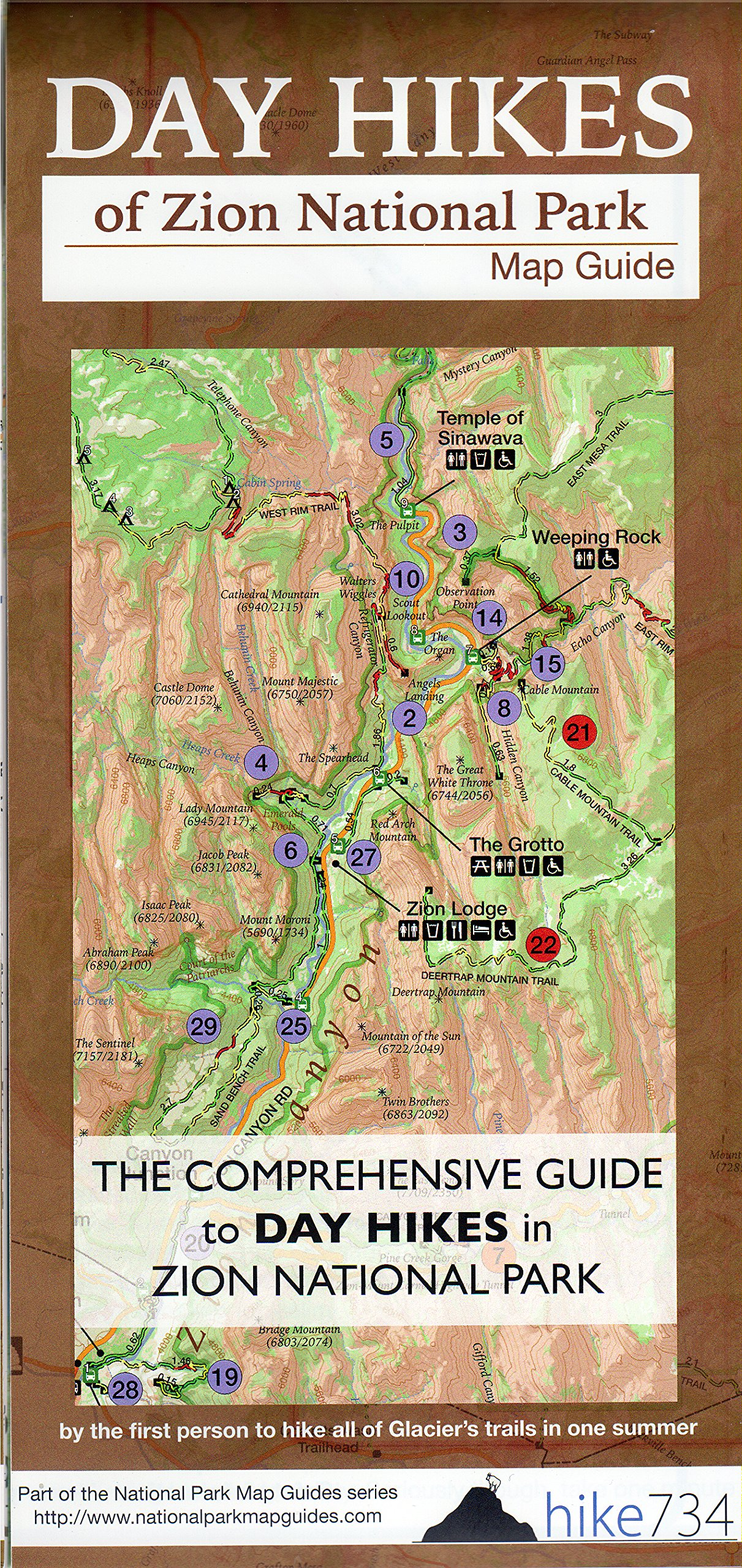 Day Hikes of Zion National Park Map-Guide: Jake mante ... on