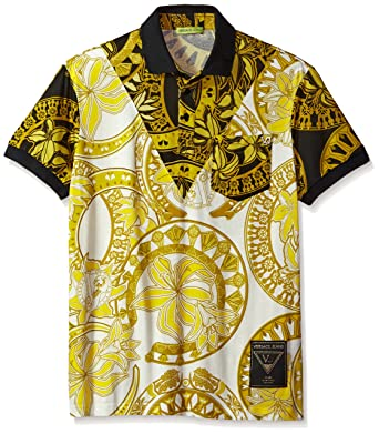 8526bf74 Versace Men's Gold Printed Polo (Bianco, 48): Amazon.in: Clothing ...