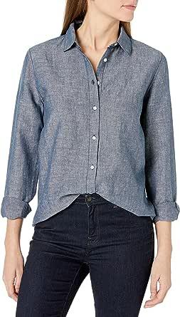 Amazon Essentials Camisa de Lino de Manga Larga Camisa para Mujer