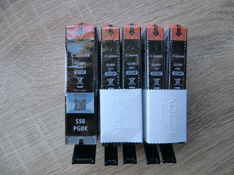 5 Original Canon Setup Druckerpatronen Pgi550 Cli551 Black Cyan Yellow Magenta Für Den Canon Pixma Ip 7250 Ip7250 Mx925 Mx 925 Tintenpatronen Bürobedarf Schreibwaren