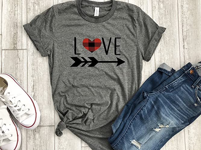 Buffalo Plaid shirt Valentines day holiday womens love shirt arrow tee gift for her