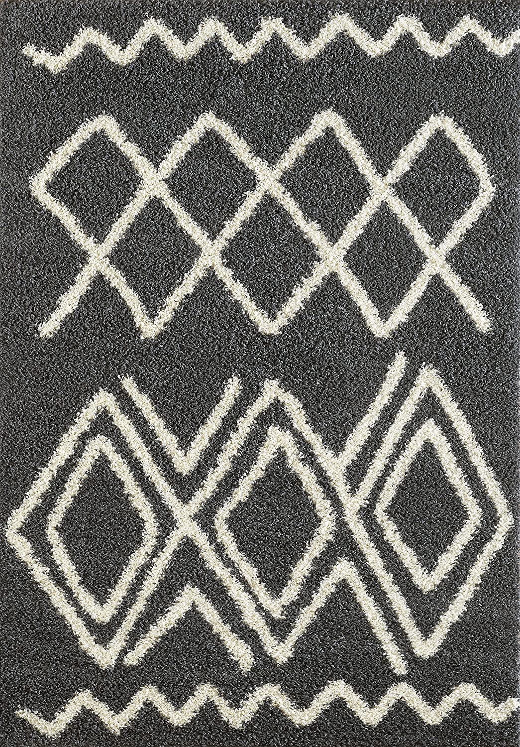 A2Z Rug ( 120x170 cm (4ft x 5ft8) Black 5530 ) Modern & Traditional Moroccan Shaggy Collection Contemporary Living & Bedroom Soft Shaggy Area Rug, Carpet Moro-5530-BK.IV-120170