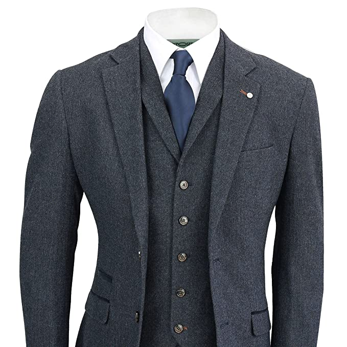 Downton Abbey Men's Fashion Guide Cavani Mens Navy Blue 3 Piece Suit Wool Mix Vintage Herringbone Tweed Smart Formal Retro Tailored Fit $144.99 AT vintagedancer.com