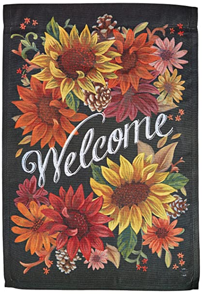 Briarwood Lane Fall Flowers Welcome Garden Flag Autumn Sunflowers  12.5u0026quot; ...