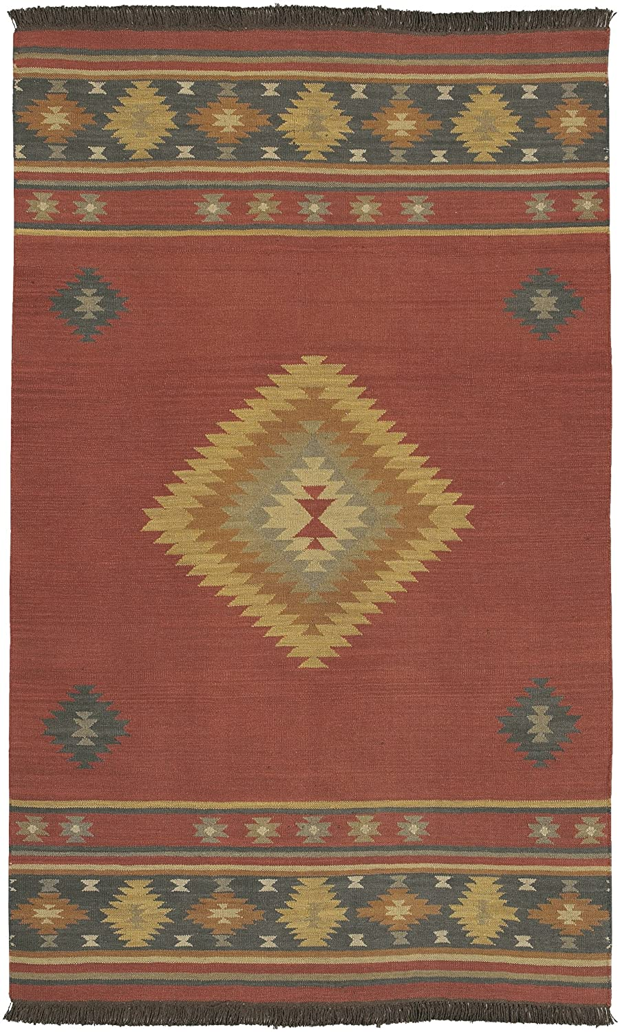southwestern new hand home product round area barnet red garden rug tufted wool aztec zealand