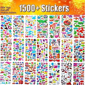 20 verschiedene Blätter Aufkleber für Kinder 1500+ 3D geschwollene Aufkleber