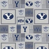 BYU Fleece Fabric-Brigham Young Heather Grey Fleece Fabric Sold by the Yard