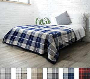 PAVILIA Premium Plaid Sherpa Fleece Bed Blanket Twin Size | Super Soft, Cozy, Plush, Lightweight Microfiber, Reversible Bed Blanket for Couch, Sofa, Bed, All Season (Navy Blue, 60 x 80 Inches)