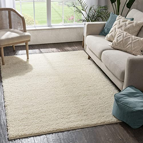 Well Woven Madison Shag Plain Vanilla Modern Solid Area Rug 3'3'' X 5'3''