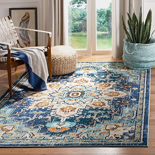 Safavieh Madison Collection MAD473M Boho Chic Vintage Distressed Medallion Area Rug