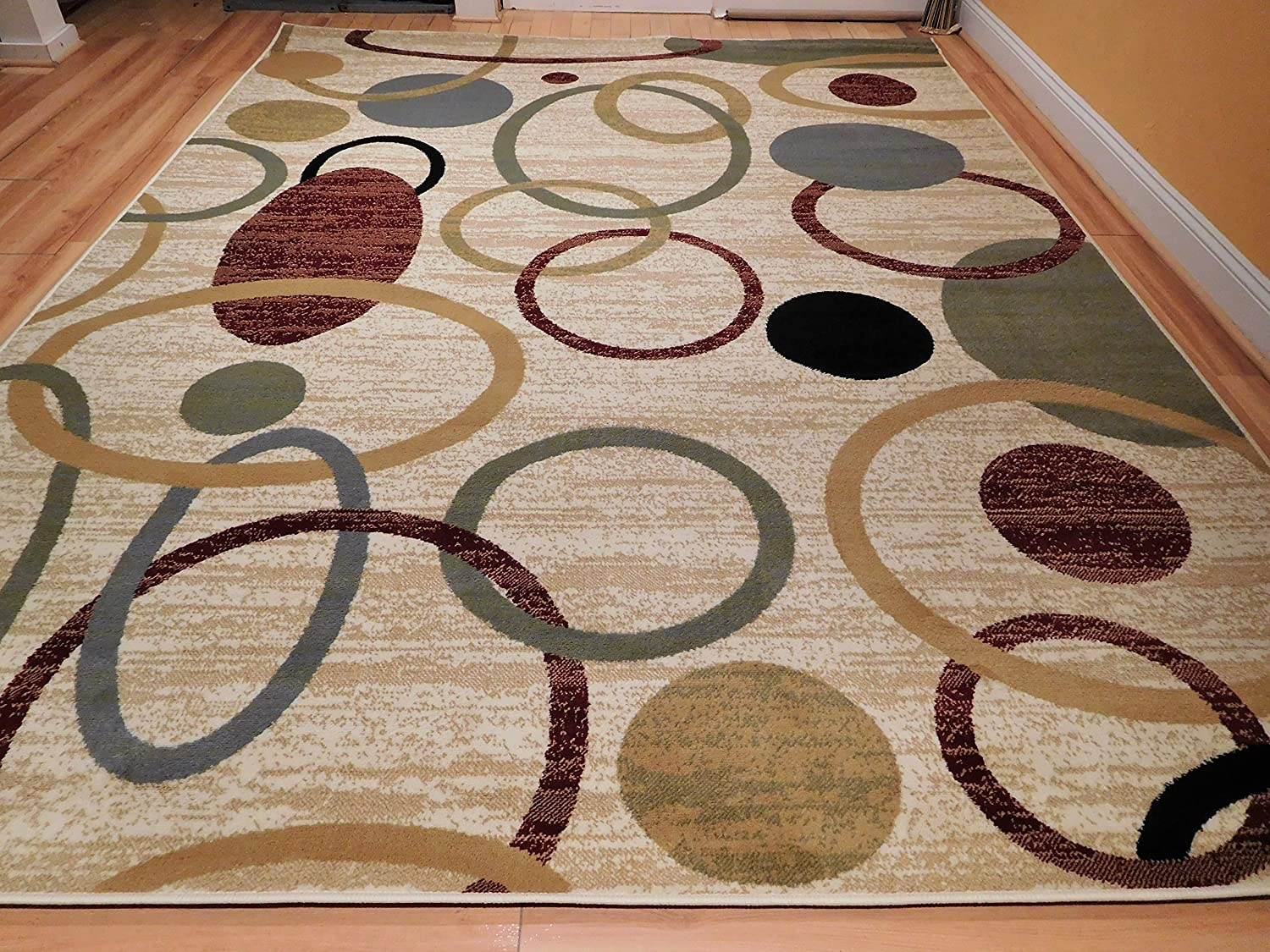 Amazon com new home multicolor modern rugs for living room abstract circles 5x8 rugs for brown sofa 5 by 7 wave inspired india printed rug