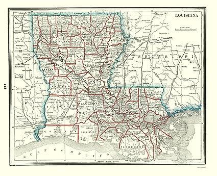 Amazon.com: Old State Map - Louisiana - Rathbun 1893 - 23 x 28.34 ...