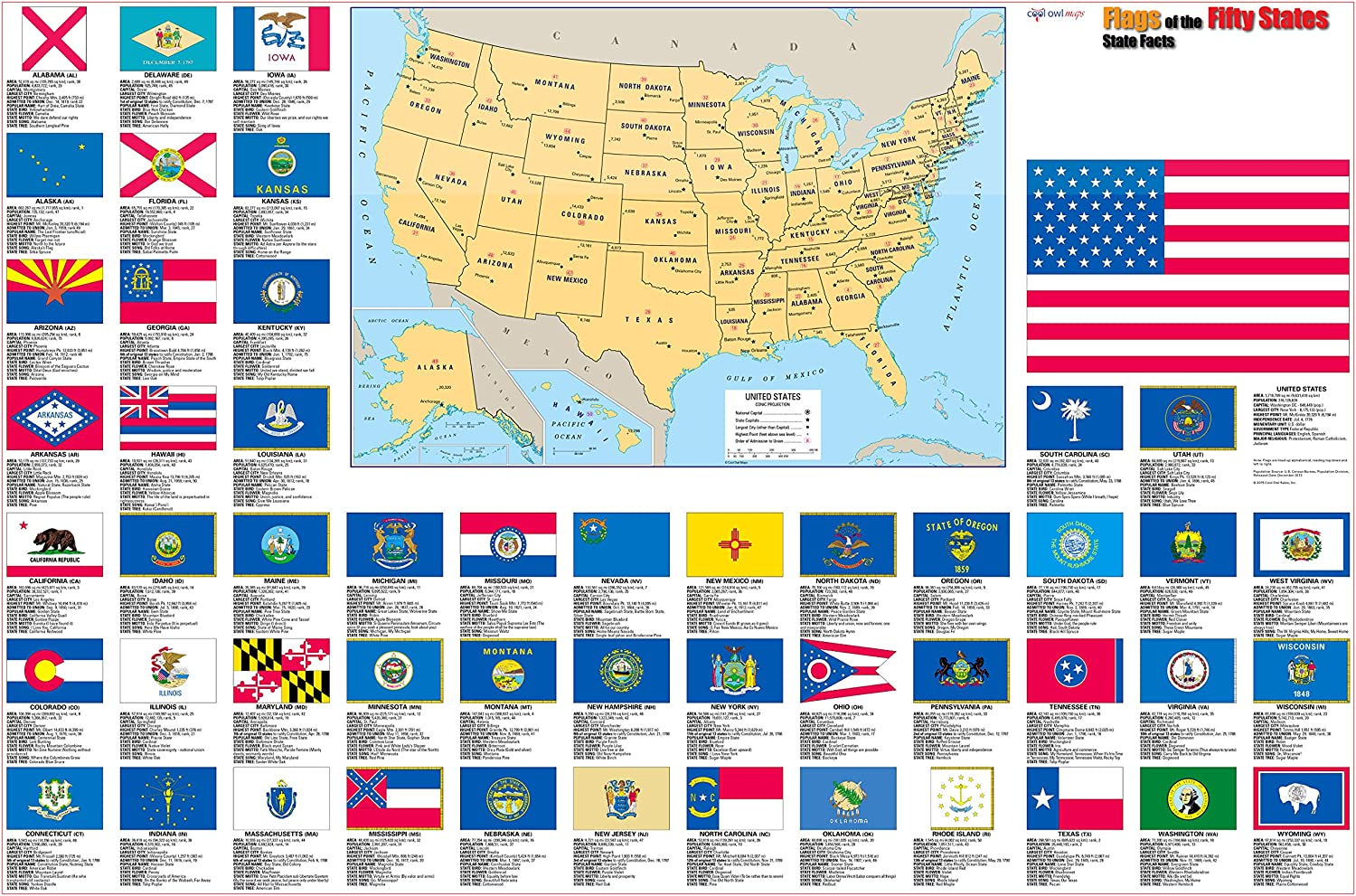 Us State Flags Map Amazon.: United States Flags Map Wall Poster   36x24 Rolled