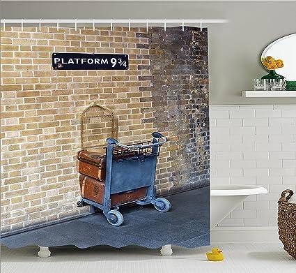 Amazon.com: Ambesonne Wizard Shower Curtain, Secret Way to the Train ...