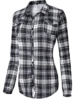 Urban GoCo Femme Chemise Manche Longue à Carreaux Ecossais Casual Col  Boutonné Shirt Chemisier Tops ef8a000e740f