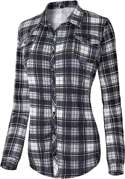 Damen Karierte Blusen Langarmhemd Karierte Bluse Plaid Shirt