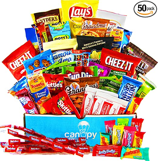 Amazon.com : Canopy Snacks   Ultimate Snacks Variety Box   Chips, Cookies,  Candy Assortment Bundle Gift Pack   College Care Package (50 Count) :  Grocery ... Part 26