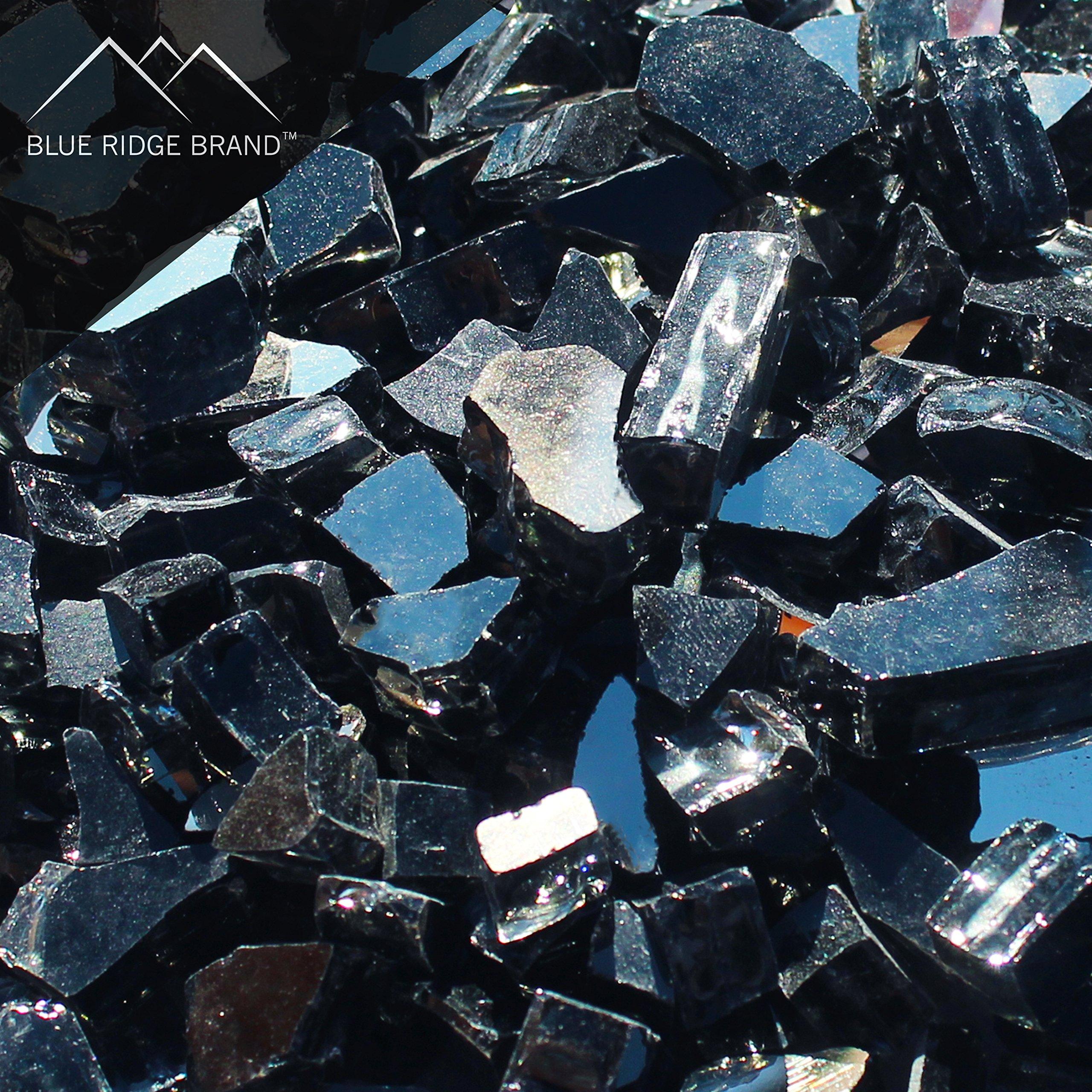 Blue Ridge Brand trade; Black Reflective Fire Glass - 5-Pound Professional Grade Fire Pit Glass - 1/2'' Reflective Glass for Fire Pit and Landscaping