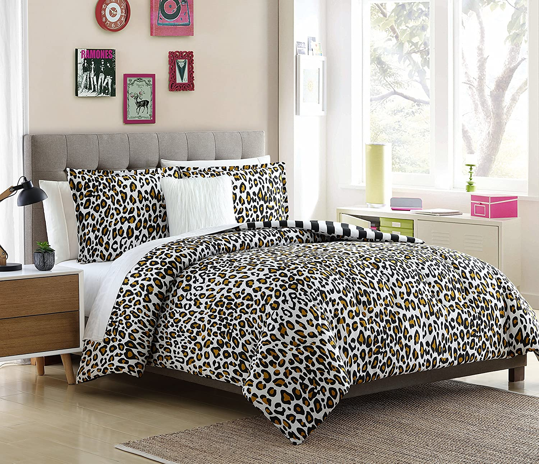 Lemon & Spice Nala 4 Piece, Full/Queen Comforter Set, Leopard