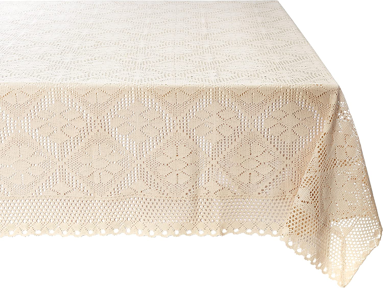 Violet Max 49% OFF Linen Stars Crochet Vintage Design Tablecloth S Lace 60