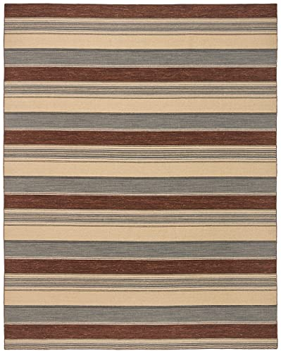 Stone Beam Modern Striped Area Rug, 8 x 10 Foot, Beige