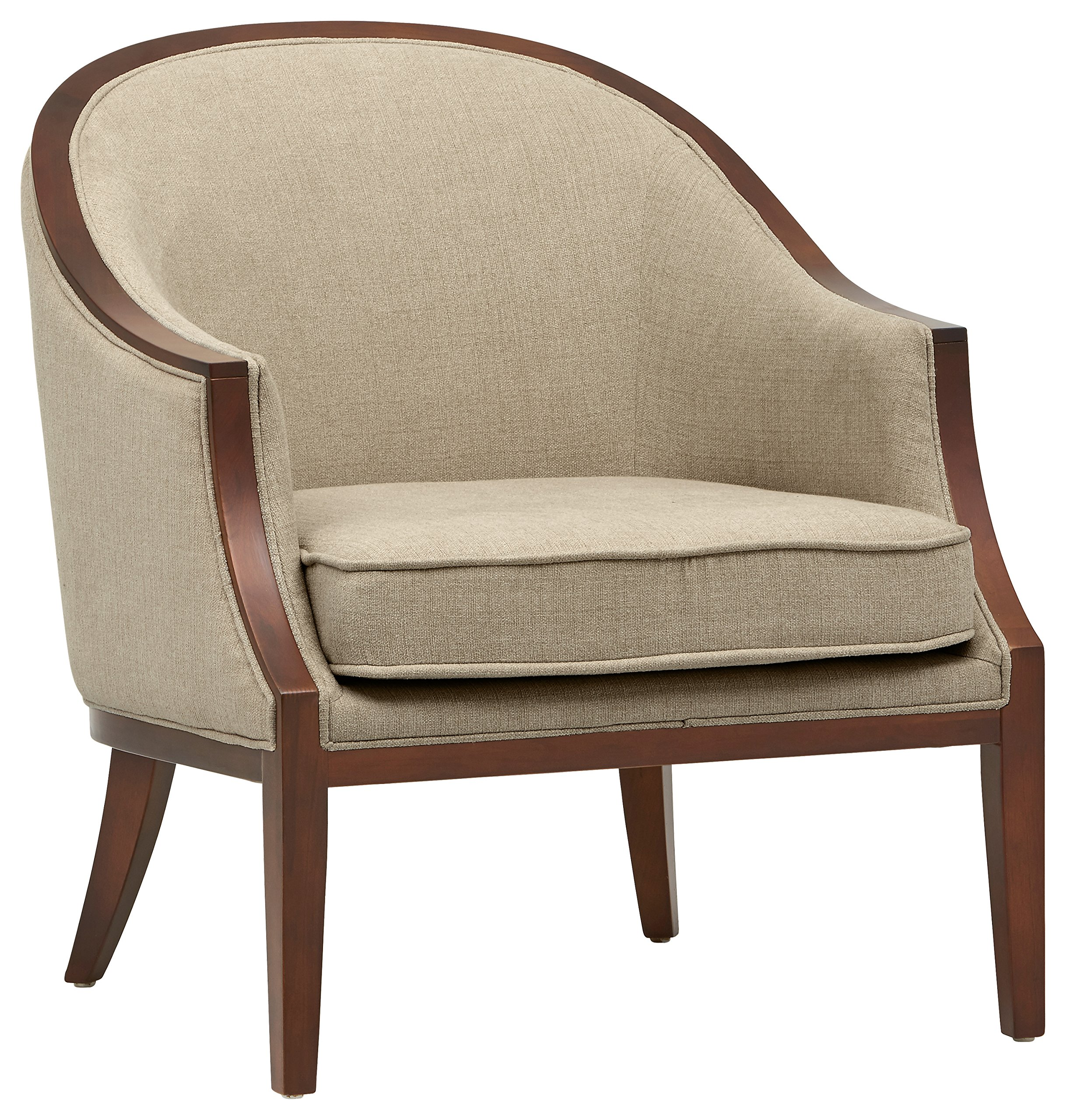 "Stone & Beam Ashbury Modern Exposed Wood Accent Chair, 29""W, Hemp - Graceful curves and a plush back and cushion invite you to take a seat in this accent chair. Its modern combination of sleek exposed wood and attractive upholstery will blend effortlessly with any living space. 31.9""D x 29""W x 33""H Solid wood and engineered hardwood frame, durable fabric - living-room-furniture, living-room, accent-chairs - A1N6TO%2ByqvL -"