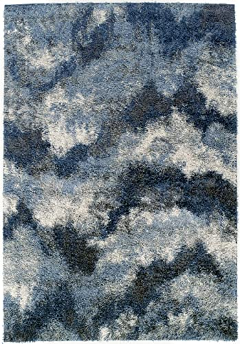Addison Borealis Plush Abstract Blues/Ivory Shag Area Rug 7'10 x 10'7