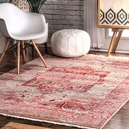 nuLOOM Ehtel Ethel Medallion Fringe Area Rug, 4 x 6 , Red