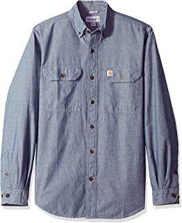 c97137b94b2 Carhartt Mens Long Sleeve Washed Fort Solid Cotton Button Shirt