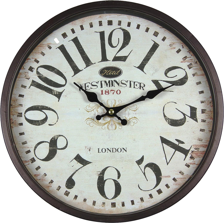 Perla PD Design - Reloj de pared de metal lacado con esfera de cristal y diseño vintage Diámetro de 30cm., metal, Westminster.