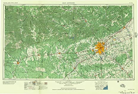 San Antonio TX topo map, 1:250000 scale, 1 X 2 Degree,