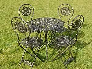 Negro y Dorado Juego De Muebles De Jardín De Hierro Forjado De 5 Piezas de estilo: Amazon.es: Jardín