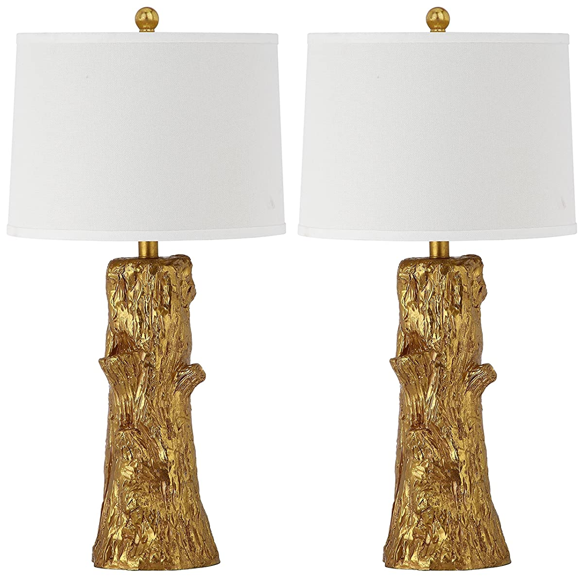 Safavieh Lighting Collection Arcadia Faux Bois Gold 28.5-inch Table Lamp (Set of 2)