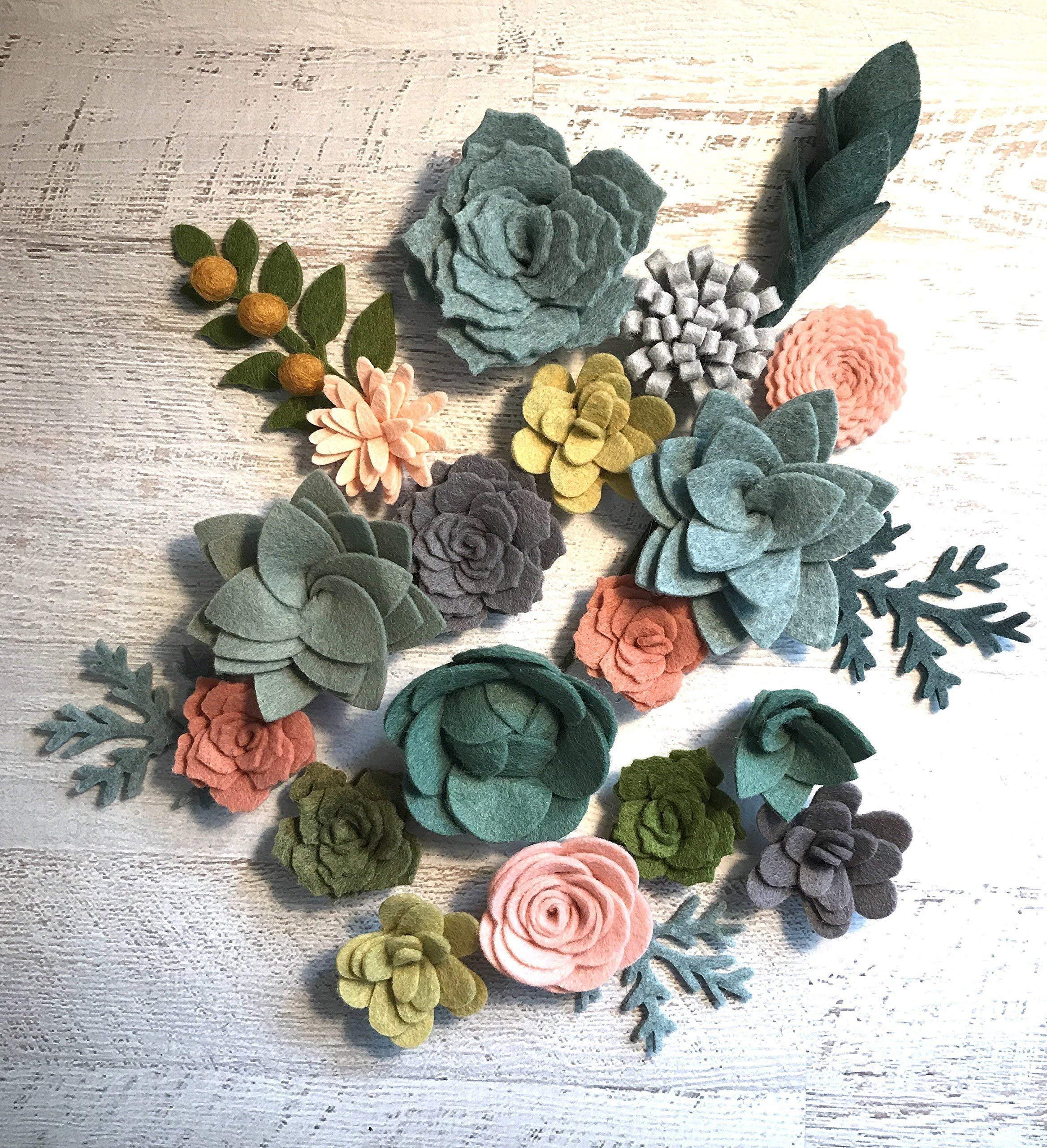 silk flower arrangements wool felt succulents and flowers - 18 flowers & 4 leaves - create headbands, diy wreaths, garlands, vertical gardens