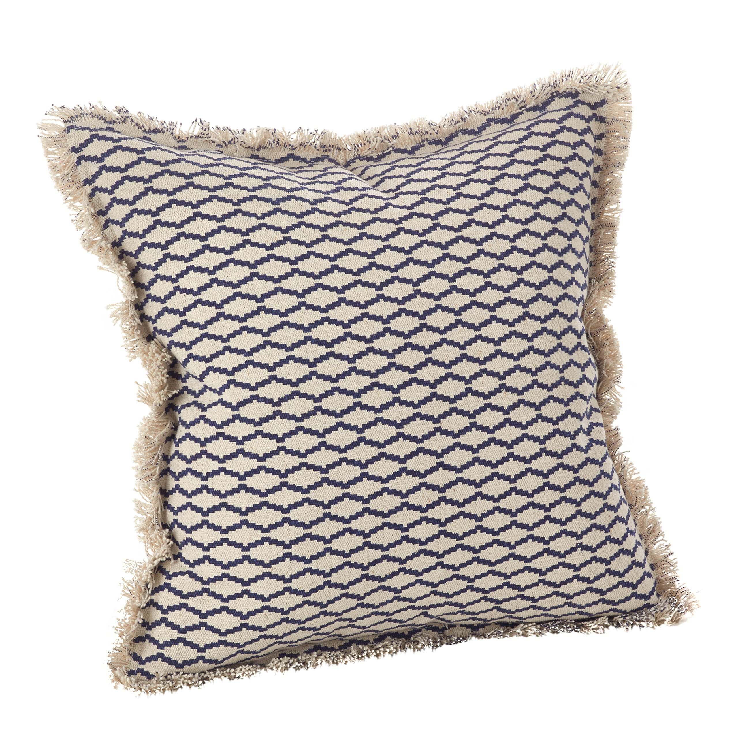 SARO LIFESTYLE Canberra Collection Fringed Morrocan Down Filled Cotton Throw Pillow, 20'', Navy Blue